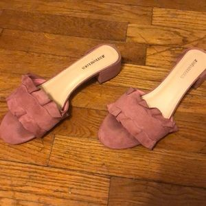 Pink ruffle flats with small heel